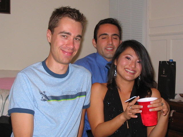 Pre-paryting at Melissa's: Jay, Dimitri (the birthday boy) and the lovely Zhuanjia