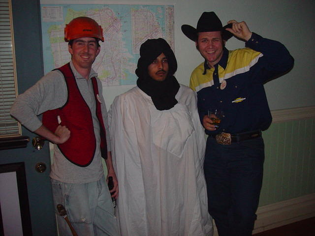 Paul as construction worker, Jigar as an Arab, Mike as a suburban cowboy