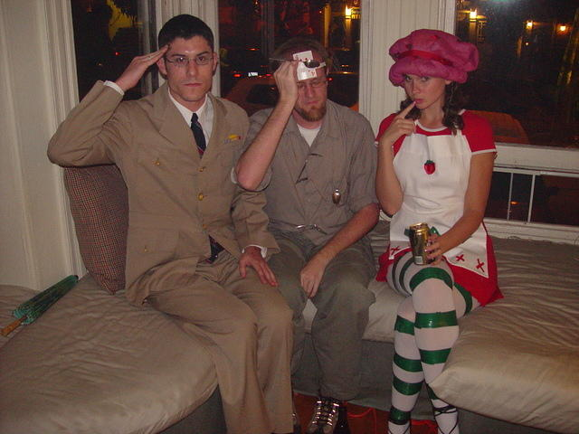 Danny as military, Jacob as Uri Geller, Kristen as Strawberry Shortcake