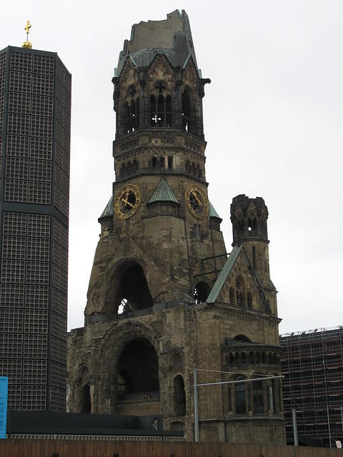 Destroyed-looking church.