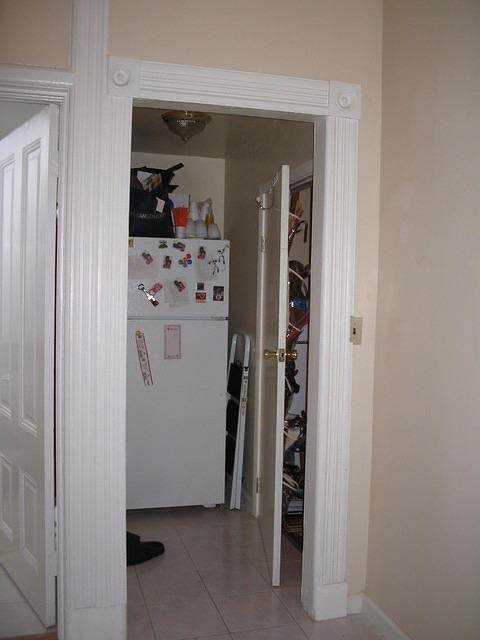 Fridge and door to laundry room