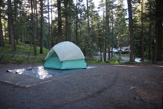 We dropped off our hitchhiker and found a campsite next to Magone Lake.