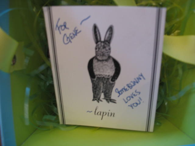 The card from the Easter Bunny in Gene's basket