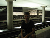 Jay in the  retro-sci fi Metro station