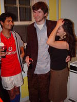 Arjun on the left as Soccer Player, Carl in the middle as guy with furry pants, Carl's girlfriend on the right as herself. I can