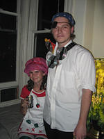 Kristen as Strawberry Shortcake and Gene as a Software Pirate