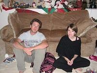 Mike and Mimi on Christmas Eve, looking thrilled as always to be having their picture taken.