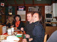 Masako, Aaron and Brandy at the fun sushi boat place at the SF Japan Center.