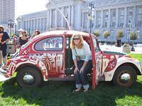 Erica in a love bug at San Francisco's 2005 Love Parade in Civic Center Plaza