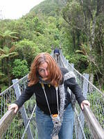 Michele on the swing bridge