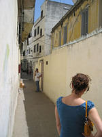 An alley in Tangiers. That's my sister's back and my brother-in-law on the phone.