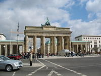 "Brandenberg gate. Note the giant fake car outside, part of Berlin's ""walk of German inventions."""