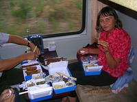 Dinner on the train.  The menu was in Vietnamese, no one spoke English, so we just pointed at several items.  Actually not too b