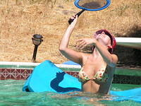 playing badminton in the pool was perhaps not the most easily accomplished task