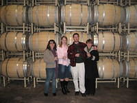 Dr M, Emily, Mike and Ann with some barrels.