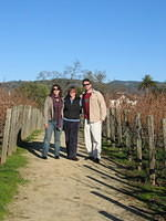 Dr M, Ann and Mike amid the vines.