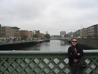 Dr. M on the River Liffey, wishing she could check into her hotel room.