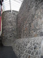 Remains of medieval wall, Galway, part original, part re-building.