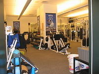 Giants Weight Room -- How would you like to do leg presses while looking at a poster of yourself?